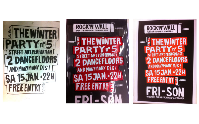 Affiches | 2011 | Fri-Son | Rock'n'Wall party (cartouche typo) 46x64 cm</a>